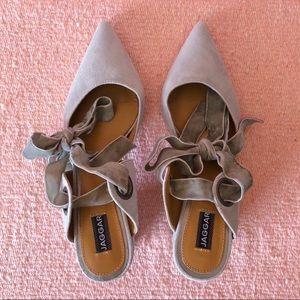 Jaggar Shoes - Jaggar Gray Suede Velvet Tie Mules